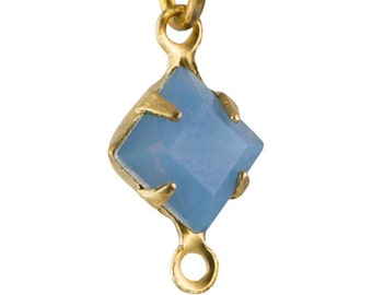 Blue Opal Faceted Square Glass Stones 2 Loop Brass Setting 6mm (8) squ001NN2