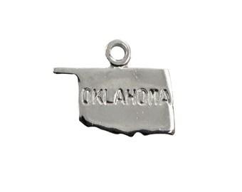 Shiny Silver Tiny Oklahoma State Charm Drops (6) chr224X