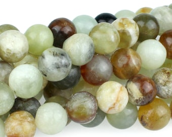 "Dakota Stones Flower Jade 10mm Round Beads Gemstones. 8"" Strand. FJD10RD-8"