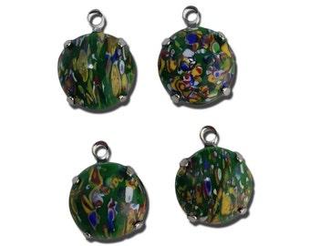 Vintage Green Millefiori Glass Stones 1 Loop Silver Settings 12mm (4) rnd005NN