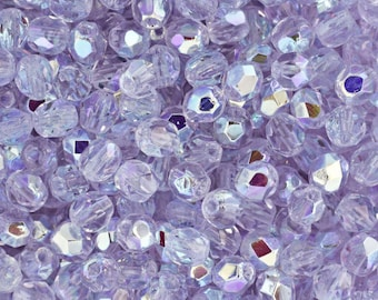 Czech Faceted Alexandrite AB Firepolish Glass Beads 4mm (50)