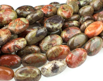 "Dakota Stones Peacock Jasper 14x10mm Oval Gemstones. 8"" Strand. PEA10x14OV-8"