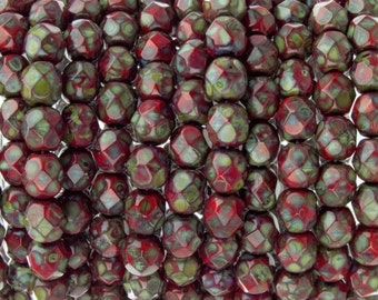 Czech Faceted Opaque Red Picasso Firepolish Glass Beads 6mm (25)