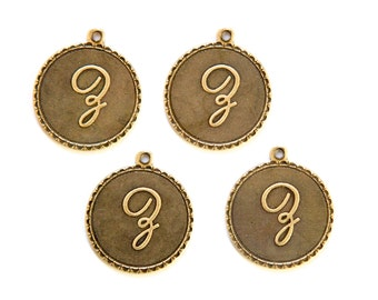 Brass Ox Letter Z Initial Charm Drop with Loop (4) chr194Z