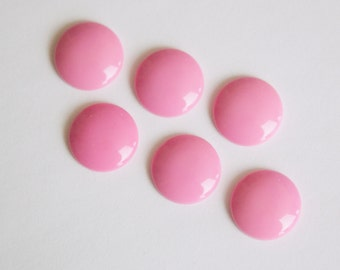 Vintage Pink Acrylic Cabochons 15mm (6) cab831G