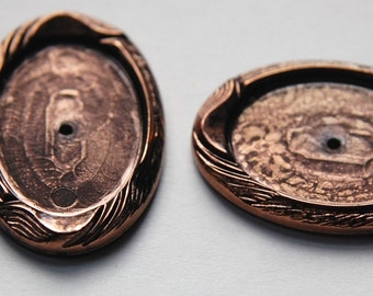 Vintage German Antique Copper Plated Acrylic Setting 25x18mm stp005