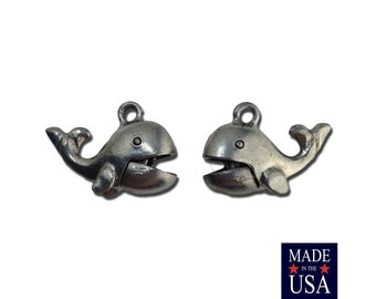 Silver Plated Pewter Whales with Articulate Mouths Charm 24x12mm (2) gyb002E