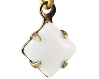 White Square Glass Stones 1 Loop Brass Ox Setting 6mm (8) squ014X