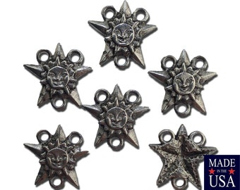 3 Loop Silver Plated Pewter Sun Star Designed Connector / Links 16x16mm (6) gyb027A