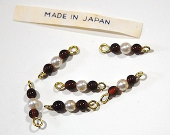 Vintage Topaz and Pearl Bead Connector Drops Japan drp008