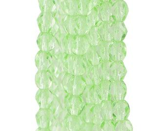 Czech Faceted Peridot Firepolish Glass Beads 4mm (50)