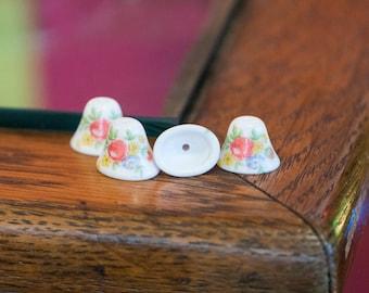Vintage Flowers on White Glass Bell Beads Japan 12mm (4) jpn011C