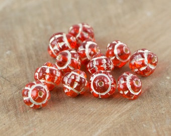 Vintage Czech Orange Glass Etched Beads with Cream  bds098B