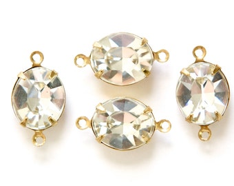 Crystal Clear Faceted Oval Stones 2 Loop Brass Setting 12mm x 10mm (4) ovl011H2