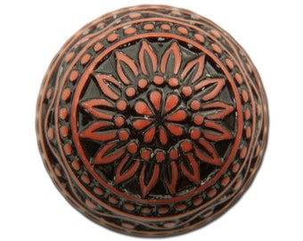Vintage Etched Mosaic Rust and Black Cabochons 18mm (2) cab710F