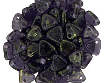 Luster gold Tanzanite CzechMates Triangle 2 Hole Glass Beads 6mm (50)