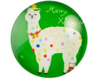 Merry Christmas Llama Glass Cabochon 15mm (4) cab875C