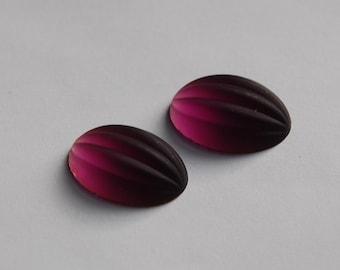 Matte Amethyst Ribbed Melon Glass Cabochons 18mm x 13mm cab449A