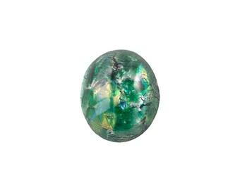 Green Foil Opal Glass Cabochons 12x10mm (2) cab5003B