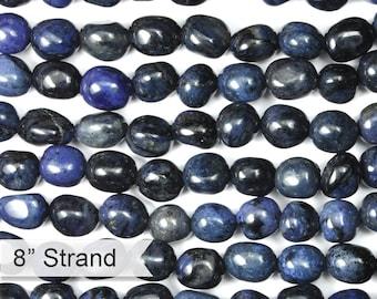 "Dakota Stones Dumortierite 8X10mm Nugget Gemstones. 8"" Strand. DMT8x10NUG-8"