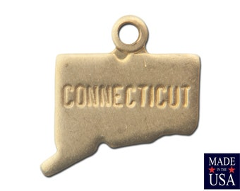 Raw Brass Tiny Connecticut State Charm Drops 10x8mm (6) chr201SS