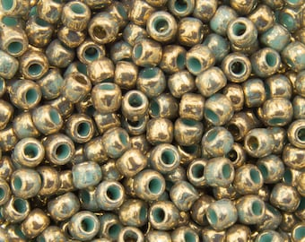 Gilded Marble Turquoise Toho Seed Bead 11/0 TR-11-1703