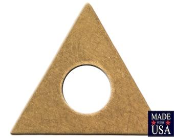 Center Cutout Raw Brass Flat Triangle Charms Drops 17mm (6) mtl479A