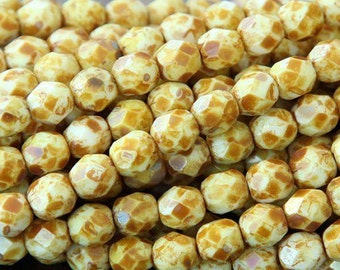 Czech Faceted Opaque White Picasso Firepolish Glass Beads 6mm (25)
