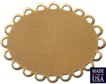 Raw Brass Lace Edge Oval Flat Pad Settings 30x20mm (8) stn029A