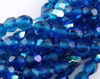Czech Faceted Capri Blue AB Firepolish Glass Beads 4mm (50) 1-04X-6008