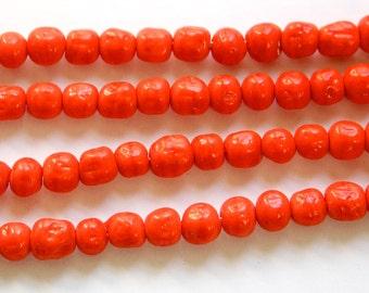 Vintage Coral Baroque Glass Beads Japan 6mm (10)  jpn002B