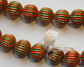 Vintage Brass Melon Beads Painted Orange Green Japan bds999