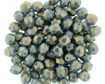 Czech Faceted Halo Ethereal Shadows Firepolish Glass Beads 6mm (25)