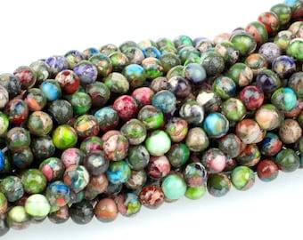 "Dakota Stones Mixed Impression Jasper 4mm Round Gemstones. 8"" Strand. MIM4RD-8"
