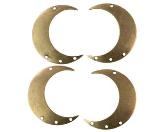 4 Hole Brass Ox Crescent BOTH Left and Right Pendant Hoops (4) mtl110D