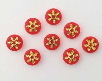 Vintage Red and Gold Snowflake or Daisy Cabochons 7mm (8) cab205C