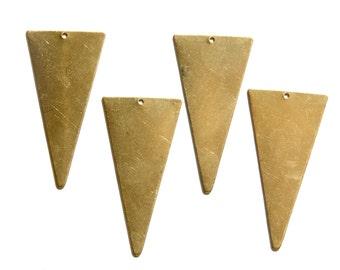 1 Bottom Hole Raw Brass Large Narrow Triangle Pendant (6) mtl200B