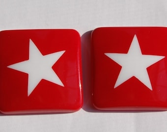 Vintage Red and White Star Square Caobochons cab657A