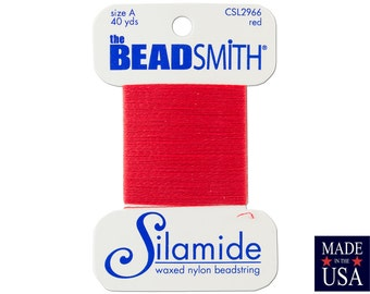 Red Silamide Waxed Nylon Beadstring Size A (40 Yards) CSL2966