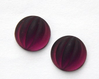 Matte Amethyst Ribbed Melon Glass Cabochons 15mm cab451A