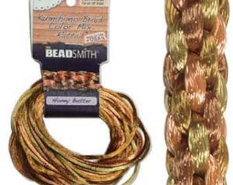 Kumihimo Rattail Color Mix Honey Butter, 4 Braids x 3 Yards each, 2mm Diameter