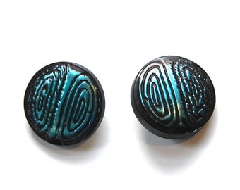 Vintage Teal Blue and Black Metallic Plastic Buttons SM btn019A