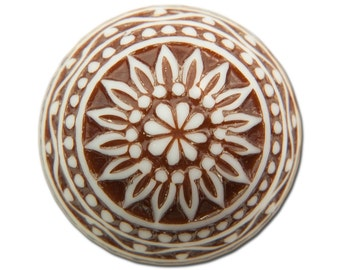 Vintage Etched Mosaic Brown and White Cabochons 18mm (2) cab710H