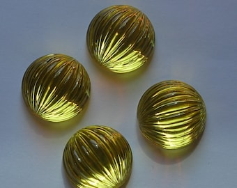 Yellow Ribbed Vintage Plastic Melon Cabochon 18mm cab395