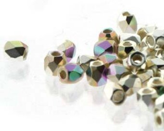 True 2 Czech .999 Fine Silver Plate AB Faceted Fire Polished Glass Beads 2mm (200+/-)