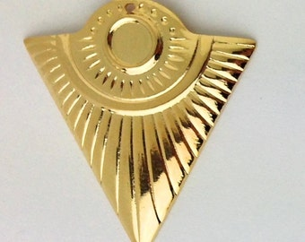 1 Hole Gold Plated Triangle Tribal Pendant with 6mm Setting (4) mtl367E