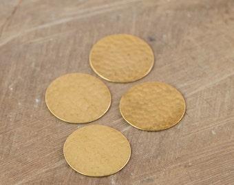 No Hole Raw Brass Hammered Circle Pendants 23mm (4) mtl297F