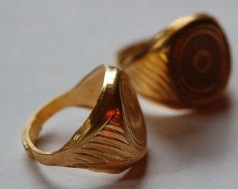 Raw Brass Round Adjustable Ring Blank 15mm lg mtl254B