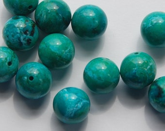 Vintage Blue Green Marbled Lucite Beads 13mm Italy bds098