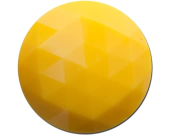 Vintage Yellow Faceted Acrylic Cabochons 30mm (2) cab825